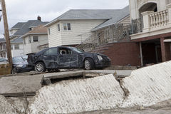 Crashed cars after Hurricane Sandy Royalty Free Stock Images