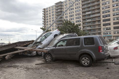 Crashed cars after Hurricane Sandy Royalty Free Stock Photos