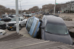 Crashed cars after Hurricane Sandy Royalty Free Stock Photography