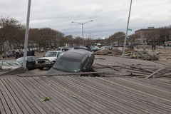 Crashed cars after Hurricane Sandy Royalty Free Stock Photo