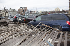 Crashed cars after Hurricane Sandy on Oct Stock Image