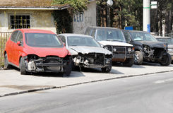 Crashed cars parked Royalty Free Stock Photo
