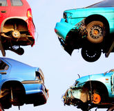 Crashed cars waiting for repai Stock Photos