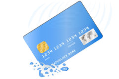 Crashed credit card. Credit card is broken into pieces. Vector illustration Stock Photos