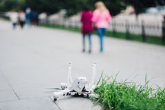 Crashed drone on the ground Royalty Free Stock Image