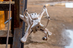 Crashed drone that stuck on the ladder Royalty Free Stock Photography