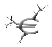 Crashed euro concept. Broken euro as a symbol of european economic crisis Stock Photos