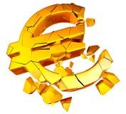Crashed euro concept. Broken euro as a symbol of european economic crisis Royalty Free Stock Photos