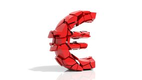 Crashed euro symbol Stock Photography