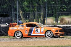 Crashed Ford Mustang race car Stock Photos