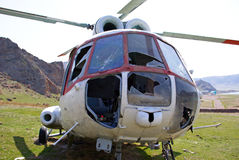 Crashed helicopter Stock Photography
