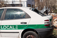 Crashed italian police car Stock Photos