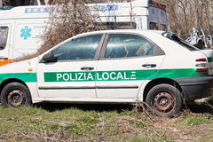 Crashed italian police car Stock Photo