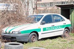 Crashed italian police car Royalty Free Stock Photography
