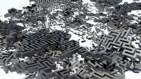 Crashed labyrinth. View background. 3d illustration. render Royalty Free Stock Photo