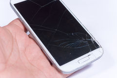 Crashed lcd touch screen on the white mobile phone Stock Image