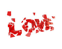 Crashed love, word broken into pieces. Crashed love, word broken into tiny glossy red pieces isolated on white Stock Photography