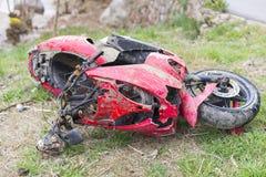 Crashed moped. Stock Photo