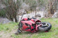 Crashed moped. Royalty Free Stock Image