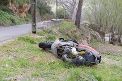 Crashed moped. Royalty Free Stock Photos