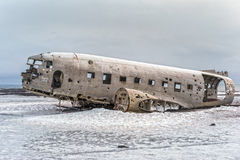 Crashed Navy DC-3 in Iceland Royalty Free Stock Photography