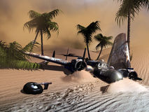 Crashed plane. Second world war plane crashed in the desert. Footprints on the sand indicate that the survivors left places. A sand storm is coming Royalty Free Stock Photos