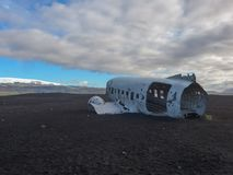 Crashed plane in Iceland near Vik royalty free stock photography