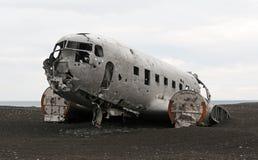 Crashed plane. D in Iceland ingrey colours Stock Images