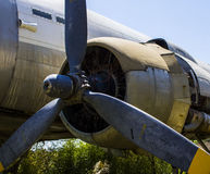 Crashed plane stuck in tree Stock Photo