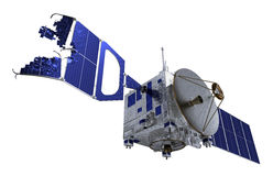 Crashed Satellite Over White Background Stock Image