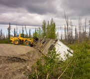 A crashed semi trailer on the cassiar highway Stock Image