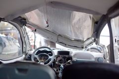 Crashed silber car inside view Royalty Free Stock Images
