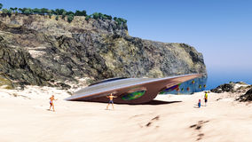 Crashed spaceship at the beach Royalty Free Stock Photos