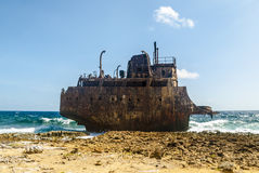 Crashed tanker ship at Klein Curacao Royalty Free Stock Photography