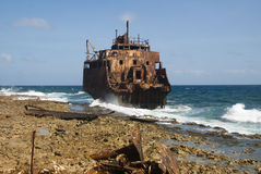 Crashed tanker ship at Klein Curacao Royalty Free Stock Photo