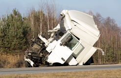 Crashed truck automobile accident Royalty Free Stock Image