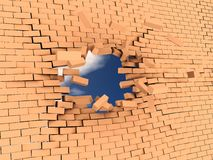 Crashed wall. 3d illstration of breaking wall to freedom Stock Photography
