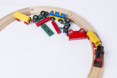 Crashed wooden toy train Royalty Free Stock Photo