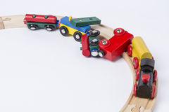 Crashed wooden toy train. Derail wooden toy train in top view. horizontal image Stock Photography