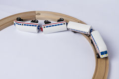 Crashed wooden toy train. Derail wooden toy train in top view. horizontal image Royalty Free Stock Photography