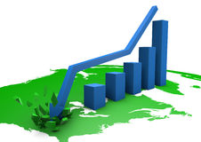 Crashing bar graph on america Royalty Free Stock Photography