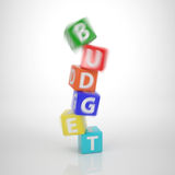 Crashing Budget Tower - Series Words out of Letter Dices Stock Photography