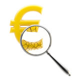 Crashing euro sign under the magnifier Royalty Free Stock Images