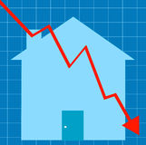 Crashing housing market. Blue graph with house - crashing housing market - vector Stock Photo