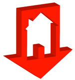 Crashing housing market. 3D red down arrow with house inside - crashing housing market - vector Stock Images