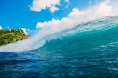 Crashing perfect wave in ocean. Breaking barrel wave. Crashing perfect wave in ocean. Breaking wave Stock Photos