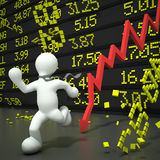 Crashing stock market. A man with a tie running away from a crashing stock market. Highly detailed 3d render Royalty Free Stock Images