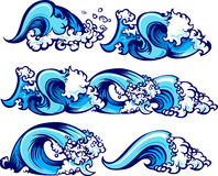 Crashing Water Waves Vector Illustrations. Waves of water graphic vector images Stock Photo