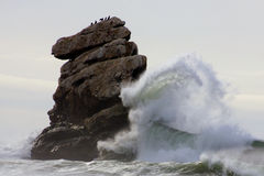 Crashing wave. Big wave crashing in front of Mono Rock Stock Photo