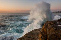 Crashing wave on sunrise Royalty Free Stock Photo